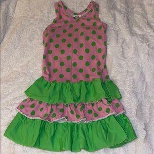 Girls dress 6 pink green sun